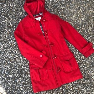 L.O.G.G. H & M red wool fitted toggle duffle coat